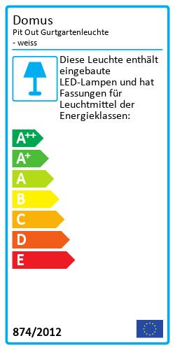 Pit Out Gurtgartenleuchte - weissEnergy Label