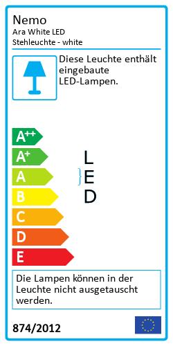 Ara White LED - StehleuchteEnergy Label