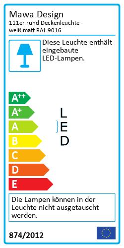 111er rund DeckenleuchteEnergy Label