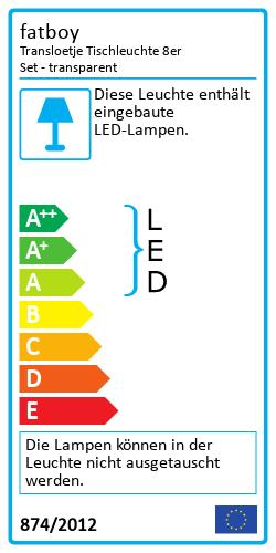 Transloetje Tischleuchte 8er SetEnergy Label