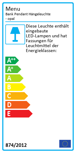 Bank Pendant HängeleuchteEnergy Label