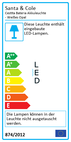 Cestita Bateria Akkuleuchte - Weißes OpalEnergielabel
